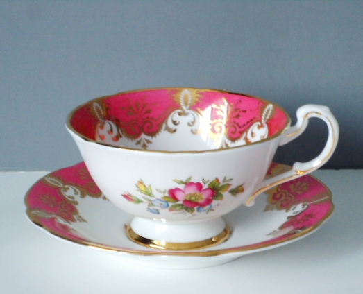 Vintage Teacup And Saucer Set By Paragon In Bubble Gum Pink Gold Gilt